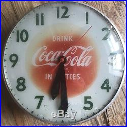 RARE 1950s VINTAGE COCA COLA LIGHTED ELECTRIC CLOCK GLASS FRONT 15 Works