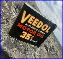 RARE Large Vintage Double Advertising Tydol and Veedol Gas and Oil Flange Sign
