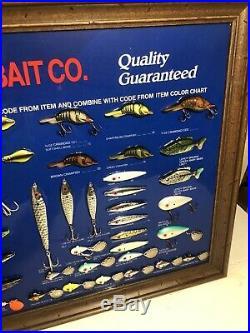 RARE NOS Vintage MANNS Bait Co Fishing Lure Dealer Store Display Sign Tackle NR