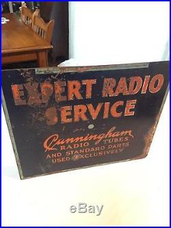 RARE VINTAGE TUBE RADIO ADVERTISING SIGN CUNNINGHAM TUBES RCA FLANGED 1930s
