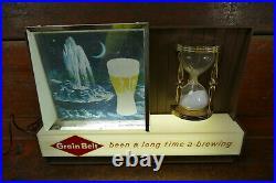 RARE Vintage 1960s Grain Belt Beer Hourglass Motion Lighted Advertising Sign
