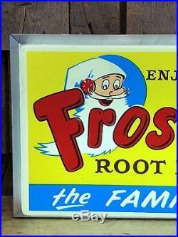 RARE Vintage Enjoy FROSTIE Root Beer Soda Drink Light Up Advertising Sign Clock