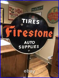 RARE Vintage Firestone Tires Auto Supplies Lollipop Sign & Base