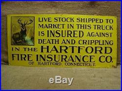 RARE Vintage Hartford Insurance Sign Antique Old Metal