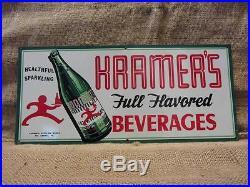 RARE Vintage Kramer's Beverage Sign Antique Old Cola Soda Drink Store 9156