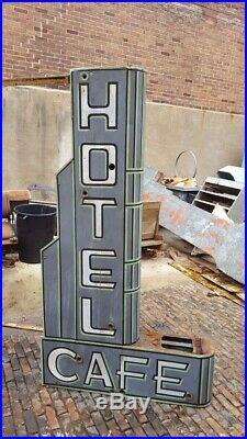 RARE Vintage ORIGINAL Restored 1938 HOTEL CAFE NEON Sign LENOX IA IOWA Motel OLD