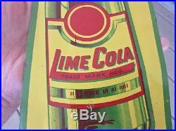 RARE Vintage Original Metal LIME COLA Door Push Sign Tin Tacker SODA ADVERTISING