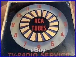 RARE Vintage RCA Tubes / TV-Radio Service Lighted Clock w Spinning Optics 1962