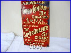 RARE Vintage Tin Cigar Sign 1930's Cigar Sign / 14 x 8
