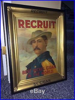 RECRUIT Tobacco Cigar Advertising Tin Sign Original Frame Vintage