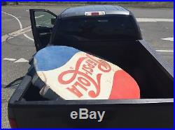 Rare Large 66 Vintage Pepsi Cola Bottle Cap Embossed Metal Steel Sign Soda Pop