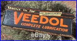 Rare Large Vintage Antique Veedol Metal Store Shelf Heavy Embossed Enamel Sign