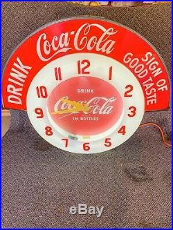 Rare Original Vintage 1947 Cleveland Neon Coca Cola Coke Clock Sign Working