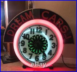 Rare! Pinwheel neon Clock + marquee, Electric neon clock co. Vintage Antique