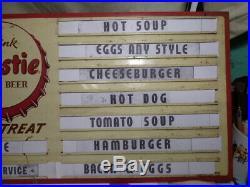 Rare Vintage 12x36 Frostie Root Beer Metal Menu Board Soda Advertising Sign