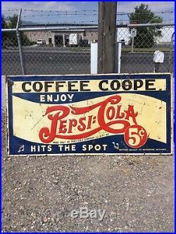 Rare! Vintage 1930s Embossed Pepsi Cola Advertising Sign. Coffee Coope Huge