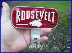 Rare Vintage 1935 FDR Franklin Roosevelt License plate topper gas oil auto sign