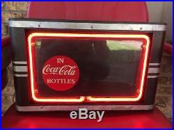 Rare Vintage 1940-50's Coca Cola Soda Pop Restaurant 17 Neon Lighted Metal Sign