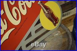 Rare Vintage 1940's Coca Cola Soda Pop Bottle 2 Sided 24 Metal Flange Sign Coke