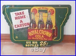 Rare Vintage 1942 RC Royal Crown Cola Soda Pop Gas Oil 2 Sided 24 Metal Sign