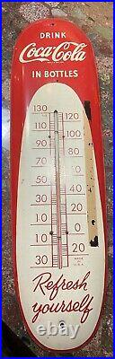 Rare Vintage 1950's Coca Cola Soda Pop 30 Metal Cigar Thermometer Sign Works