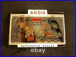 Rare Vintage Andis Master Clippers Dealer Sign Antique Barber Shop Advertisement