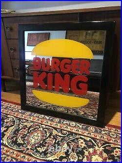 Rare Vintage BURGER KING Mirror Sign Corporate HQ Restaurant Advertising Custom