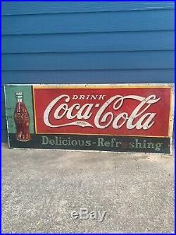Rare Vintage Coca-Cola 1930s Metal Original Soda Sign 72 X 30