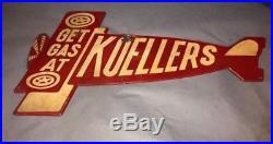 Rare Vintage Get Gas At Koeller's Diecut Airplane Advertising Sign Oshkosh WI