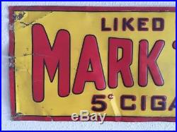 Rare Vintage Mark Twain 5c Cigar/Tobacco Embossed Metal Sign Liked By All