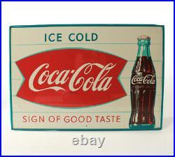 Rare Vintage Original Metal Sign Coca Cola Ice Cold Fishtail Soda Sign