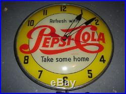 Rare Vintage Pepsi Cola 15 Lighted Clock Sign