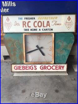 Rare Vintage RC COLA Advertising Clock Sign Large 40hx50w 1960's