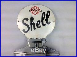 Rare Vintage Shell Fuel Pump enamel garage advertising sign