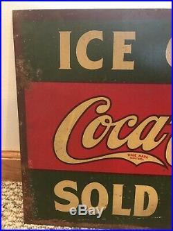 Rare Vintage c. 1930 Coca Cola Soda Pop 2 Sided 17 Metal Flange Sign Store Old
