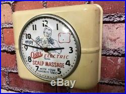 Rare Vtg Westclox Old Barber Shop Advertising Oster-gem-eveready Wall-clock Sign