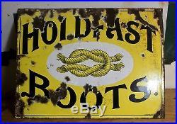 Rare antique / vintage enamel sign HOLDFAST BOOTS yellow shoe advertisement 1910