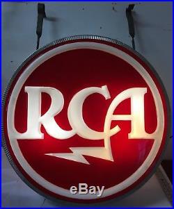 Rare -rca-vintage 2 Sided Lighted Sign Large 35-tv, Radio, Tubes-advertisement