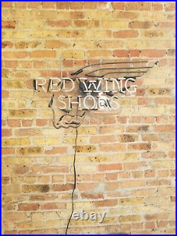 Red Wing Shoes Neon Sign Vintage Rare