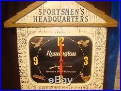 Remington Gun Advertising Sign Authorized Dealer Lighted Clock
