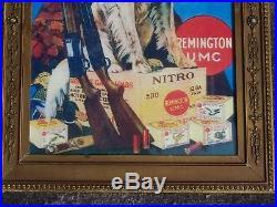 Remington UMC Shotgun Dog Lets Go Cartridges Advertising Sign Store Display
