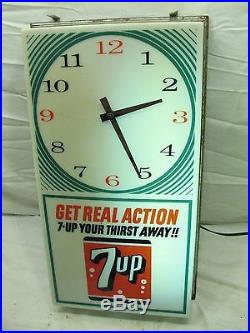 Retro 7-Up Soda Pop Advertising Lighted Clock Sign Vintage Get Real Atomic