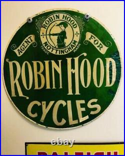 Robin Hood Cycles enamel Advertising Enamel Vintage sign Nottingham 1890-1915