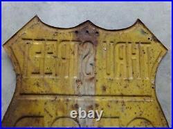 STOP SIGN Shield Vintage Yellow Original Embossed Stamp Road Highway Very Rare
