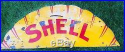 Shell Gas Oil Service Station Porcelain 6x3 Sign Gas Oil Top Half Vintage Real