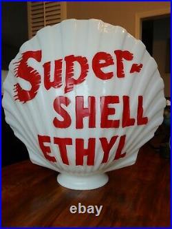 Shell Oil Vintage milk Glass Globe, gas pump