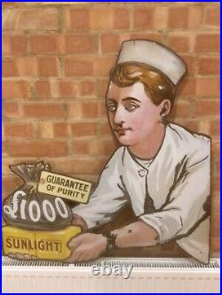 Sunlight Soap £1000 original porcelain enamel antique vintage advertising sign