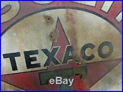 TEXACO Gasoline Motor Oil Service Station 2 Sided Porcelain Sign 42 30s VTG