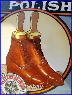 Tiger Brand Nugget Boot Polish Enamel Sign Tiger Vintage Enamel Porcelain Sign