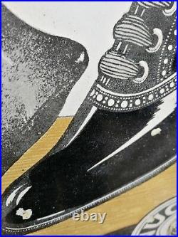 Tiger Nugget Boot Polish Enamel Sign Tiger Brand Vintage Enamel Porcelain Sign